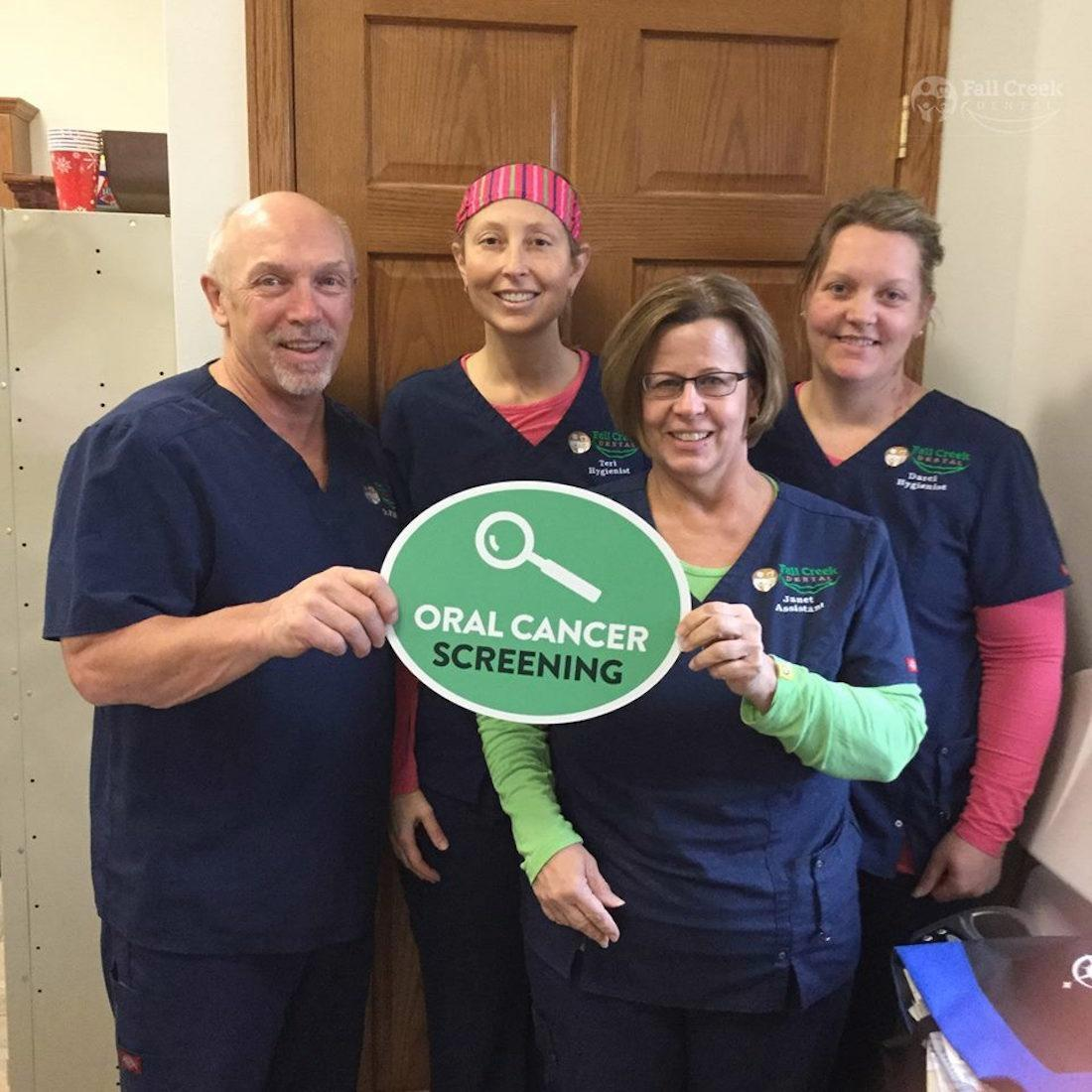 Dr. Pilgrim and the team. Now offering cancer screenings using Velscope!